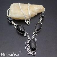 Hermosa مجوهرات رائعة ساحرة أنيقة الأسود الجزع سبج ريترو 925 الاسترليني الفضة غرامة قلادة HF960