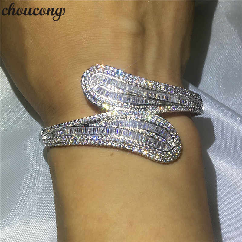 Luxury jewelry 5A cubic zirconia T shape stone Baguette bracelet shinning bangle White Gold Filled women wedding accessaries