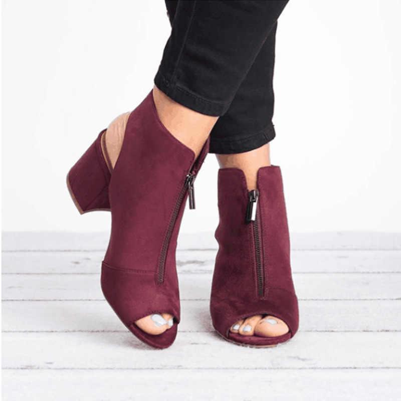 Klasik yarım çizmeler Faux Süet Deri Rahat Açık Peep Toe Yüksek Topuklu Fermuar Moda kare kauçuk siyah ayakkabı Için Kadın Size3