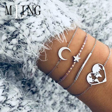 4 Pcs/Set Vintage Moon Star Heart World Map Bracelet Set Boho Bangle Female Fashion Jewelry