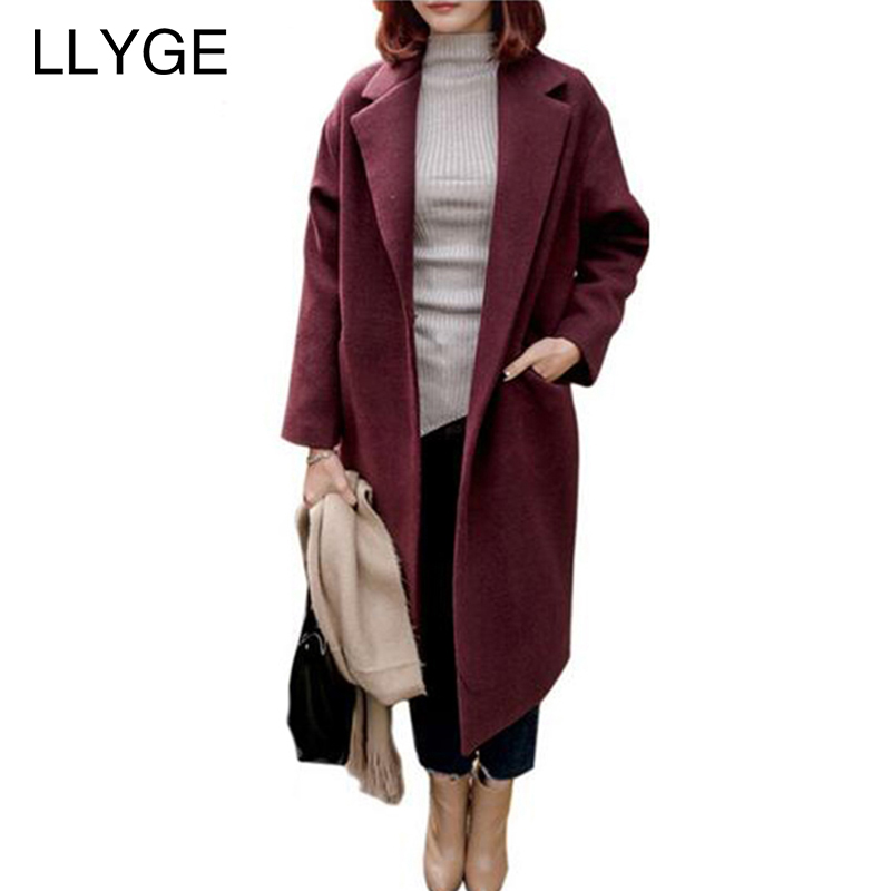 LLYGE Women's Single-Breasted Woolen Coats And Blends Wine Red Cotton Warm Overcoat Elegant Long Feminine Coat