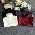 Camiseta infantil Meninas Novo 2017 Primavera Casual Dobra Simples T Shirt Crianças Cor Sólida Longo Da Luva Do Bebê Roupas de Menina 3508 W