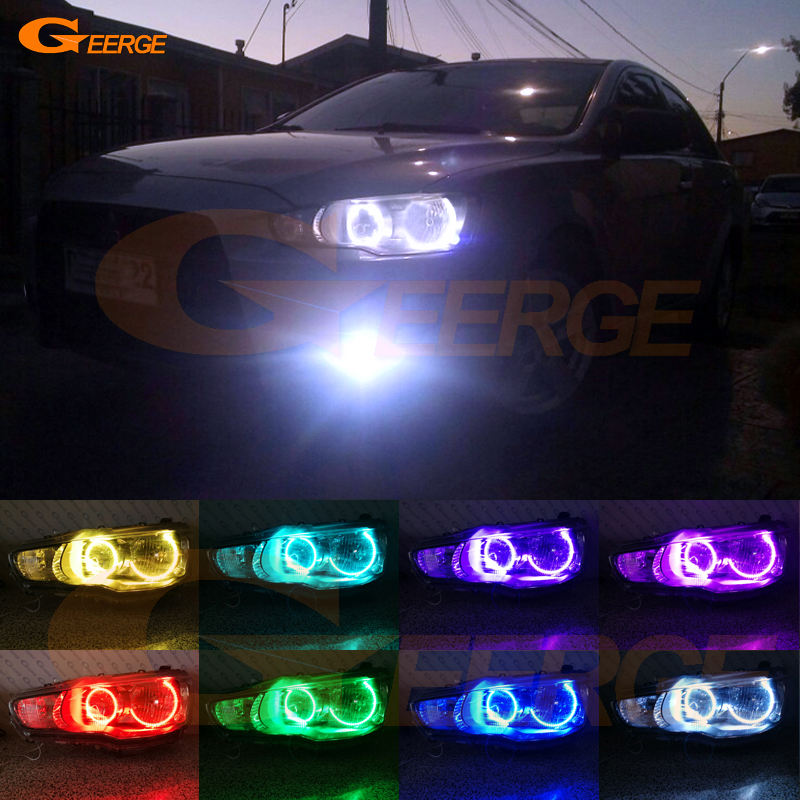For Mitsubishi Lancer X 10 2007-2016 Halogen headlight perfect compatible Multi-Color Ultra bright RGB LED Angel Eyes kit ветровики prestige mitsubishi lancer 10 sd hb 07
