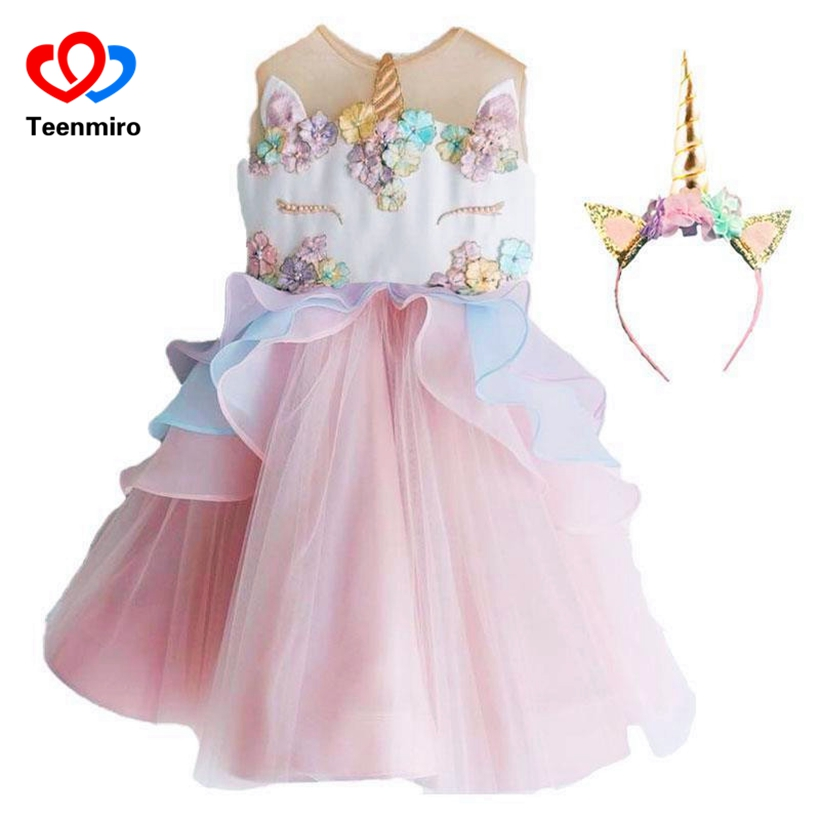 2018 2pcs Kids Rainbow Unicorn Tutu Girls Dress Pearl Layered Baby Girl Princess Dresses Children Cosplay Clothing Hair Headwear baby toddlers girls dress unicorn beading floral tulle princess tutu dresses kids cosplay flower pearl party dress kids clothing