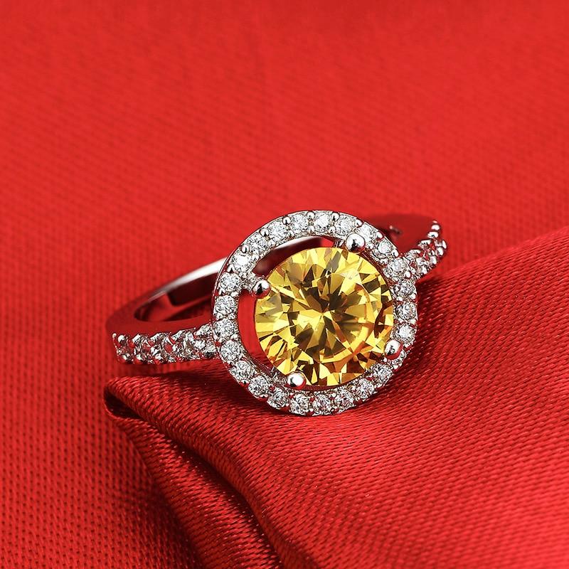 solid 925 Sterling Silver Halo Ring gul rosa för kvinnor Bröllop - Märkessmycken - Foto 5