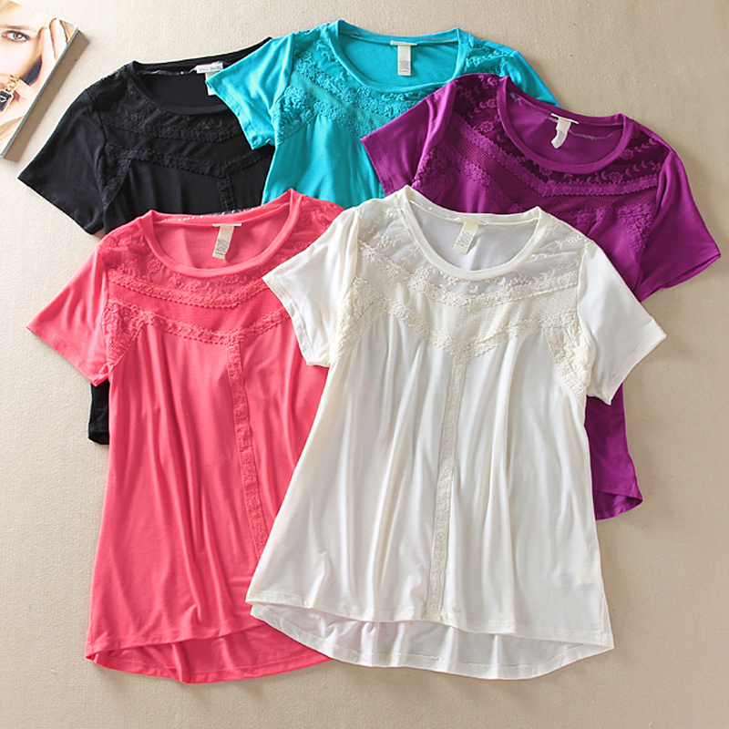 Free shipping lace t shirts women plus size short sleeve for Plus size summer shirts