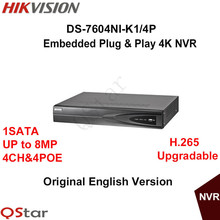 Hikvision английская версия ds-7604ni-k1/4 P embedded plug & play 4 К nvr поддержка H.265 до 8MP 4POE 4CH Сети DHL Бесплатно доставка