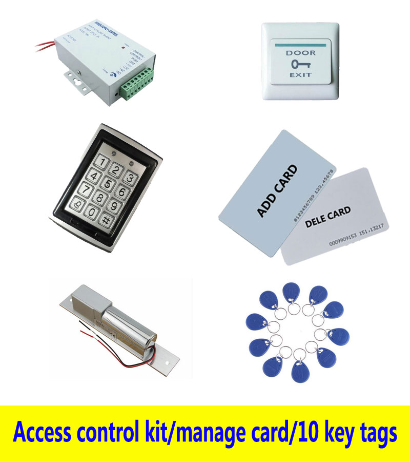 Metal Access control kit,em/ ID keypad access control+ power+bolt lock+exit button+2pcs manage card, 10 keyfob ID tags,sn:Tset-2 free ship by dhl access control kit waterproof access control switch power electric mute lock exit button 10 em cards sn em t10