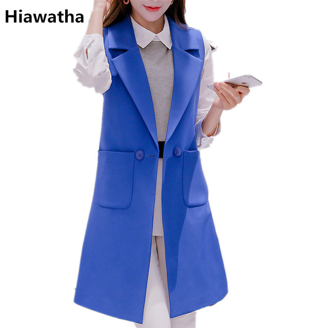 Hiawatha 2018 Spring Autumn Sleeveless Jacket And Blazer Korean Long Vest Coat Fashion Pockets Suit BL016