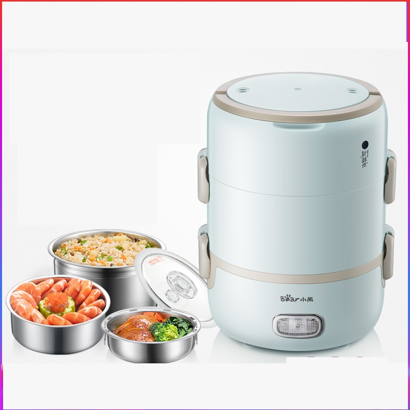 220V Automatic Electric Lunch Heating Box Household Electric Hot Pot Multi Rice Cooker 2L Stainless Steel