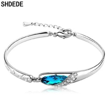 SHDEDE Women Charm Bracelets Fashion Jewelry Korea Trendy Accessories Blue Crystal Elegant  +WHBD25