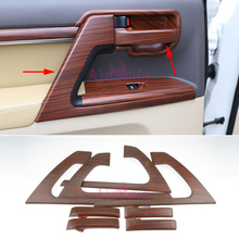 Interior Wood Color Door Handle Cover Holder Trim Panel Overlay LC 200 2008-17 Car Styling For Toyota Land Cruiser 200 Accessory wooden color door holder handle ac outlet dashboard trim lc 200 car styling 2016 2017 for toyota land cruiser 200 accessories
