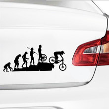 23*9.5CM Long Human Evolution From Apes To Mountain Bike Car Sticker for Window Bumper Car Styling Reflective Vinyl Decal(China)