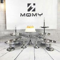7 11pcs/set Crystal Dessert Display Plate Pop Mirror Party Set Wedding Cake Stand Decoration