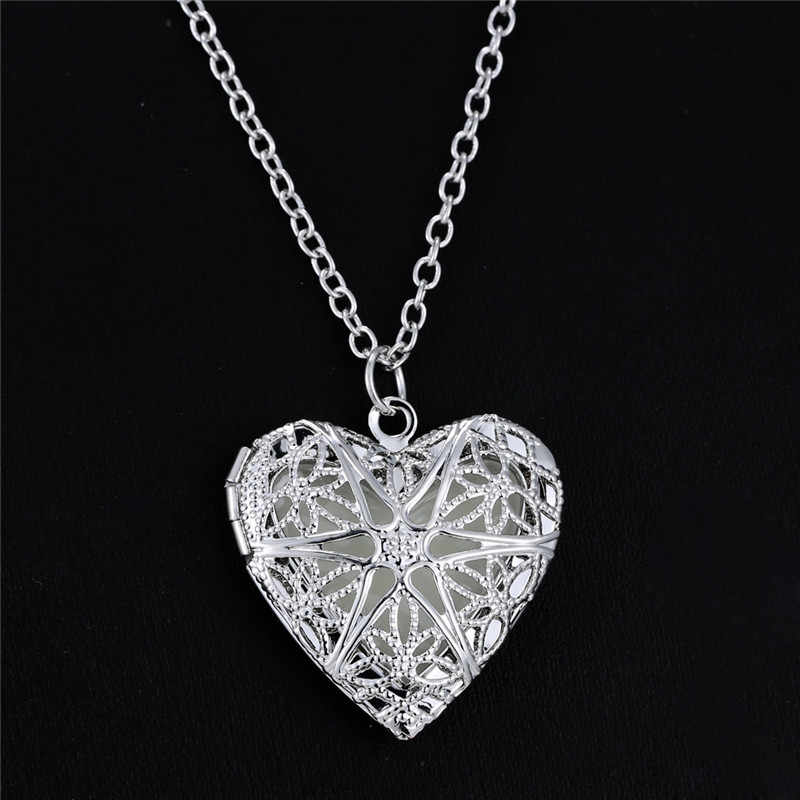 new Boho Luminous Hollow Love Heart Necklace Glowing In The Dark Pendant Necklaces Jewelry Valentine's Day Gifts Exo