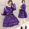 2016 New Fashion Winter Stand Neck Full Sleeve Slim Temperament Solid Color Coat Down Cotton Women Warm Jacket With Waistband