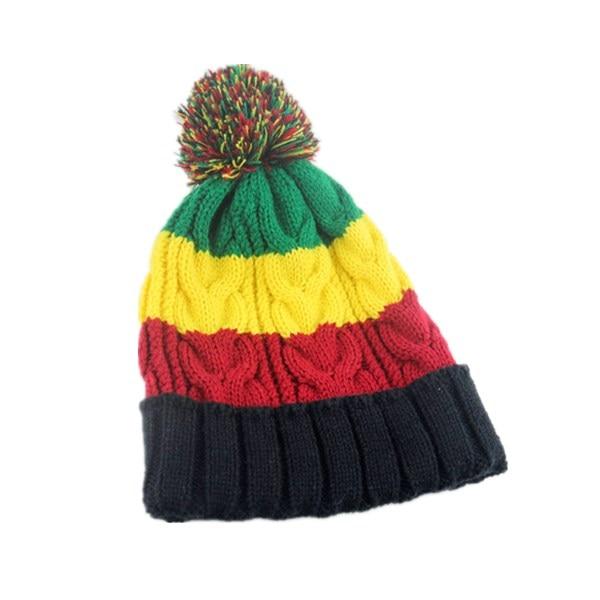 Rasta Beanie Hat Long Slouch Ribbed Navy Blue Baggy Marley Reggae Style