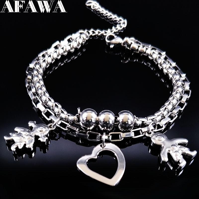 2019 duplo menino e menina cor prata pulseira de aço inoxidável para as mulheres amor pulseiras pulseiras jóias pulseras hombre b61447