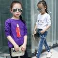 2017 spring and autumn hot fashion children's cotton T-shirt girls 4-11 years old cartoon base T-shirt