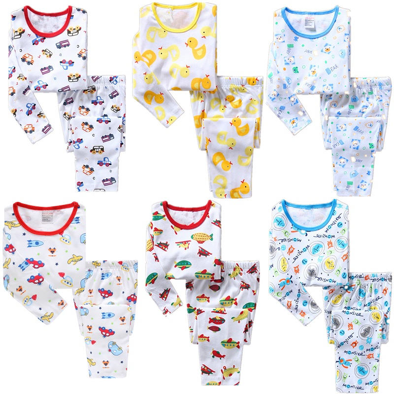 2018 Baby Boys Clothes Suits Cotton Children Sleepwear Sets Kids T-Shirts Pants 2-Pieces Sets Pyjamas 2 3 4 5 6 7 Year PJS Soft