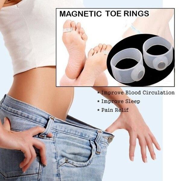 4 ピース = 2 ペアシリコン磁気フットマッサージ足リング脂肪燃焼痩身バーン女性は重量高速削減ボディツール