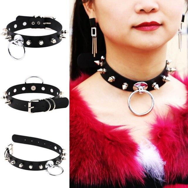 1 Stück Frauen Männer Kühlen 100% Handarbeit Übergroßen Halsband Fetisch O Runde Niet Leder Kragen Bondage Unter BDSM Harness Halskette