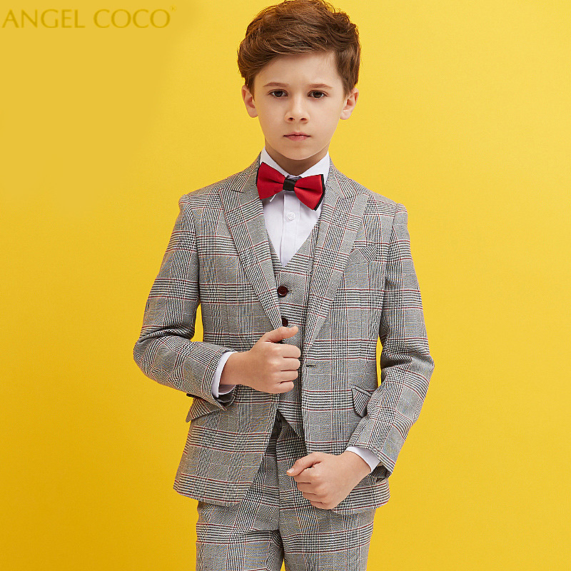 Fashion British Lattice Baby Boys Suit Kids Blazers Boy Suit For Weddings Prom Formal Spring Autumn