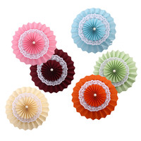 Zilue 6pcs Set Mix Double Layer Paper Fan Lace Flower Wedding Birthday Party Festival Store Window