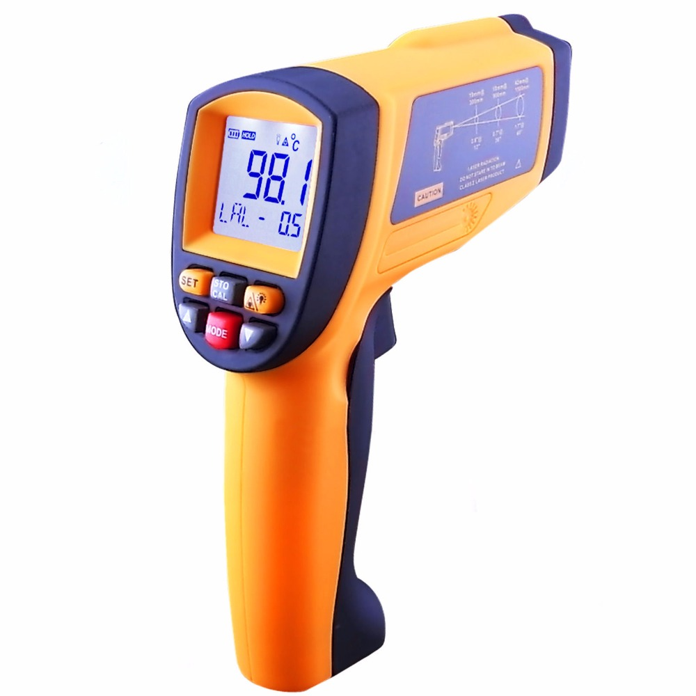 Handheld Professional Digital 20:1 Radio IR Laser Infrared Non-Contact Thermometer Pyrometer + Backlight цены