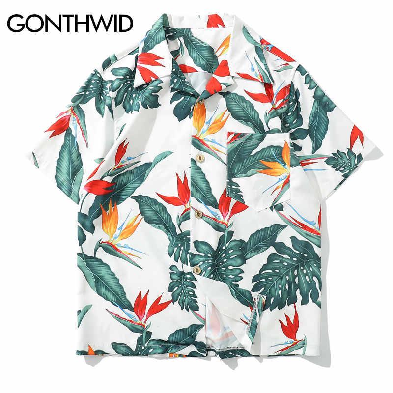 GONTHWID Цветочные Гавайские Aloha пляжные рубашки для мужчин повседневные Летние Гавайские Алоха вечерние праздничные маскарадные рубашки уличный с короткими рукавами