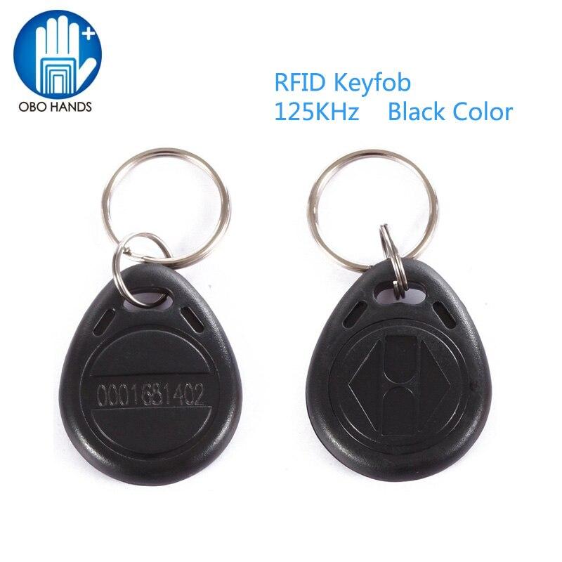 OBO HANDS EM4100 EM4102 125KHz RFID EM-ID Card Tag Token Key Chain Keyfob Read Only Color Black pack of 10