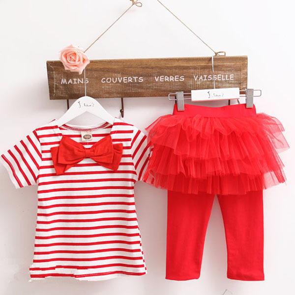 Cute Baby Kid Girl Stripe Bowknot Top T-shirt + Tulle Pant Culottes Outfit Sets 2 PCS