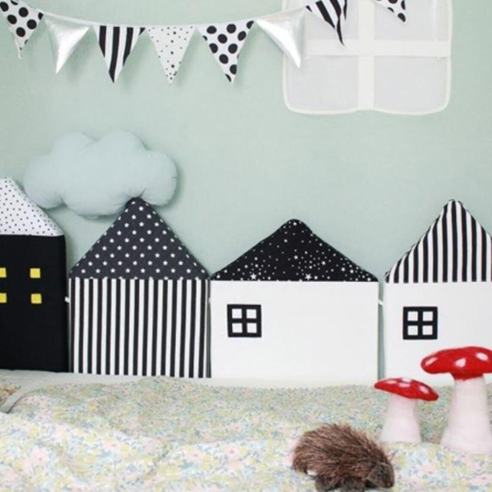4pcs Baby Bed Bumper Little House Pattern Crib Protection Infant Cot Newborn Bedding Baby Bed Bedding