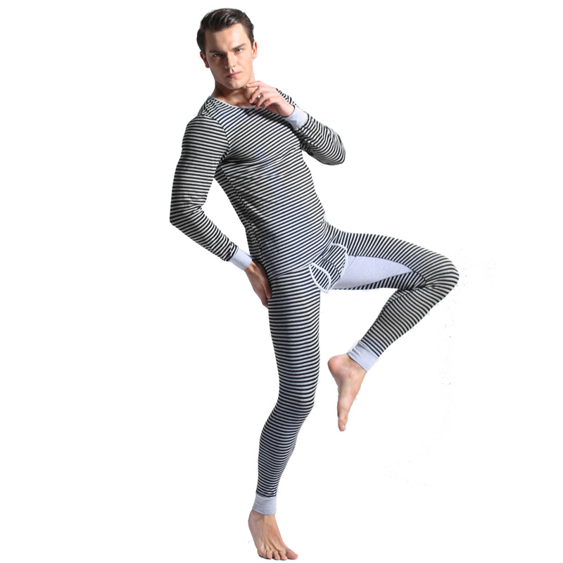 Mens Thermal underwear sets 100% cotton anti-microbial men warm long johns fashion striped male winter thermo shirt+pants sets(China)