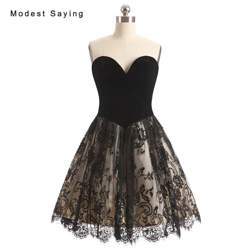 Элегантная черная кружевная юбка трапециевидной формы бархатный лиф Коктейльные мини платья 2017 г. нарядное короткое вечернее платье для вы