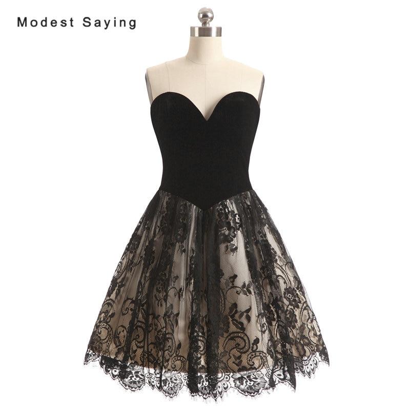 Elegant Black A-Line Lace Skirt Velvet Bodice Mini   Cocktail     Dresses   2017 Girls Formal Short Party Prom Gown vestidos de coctel