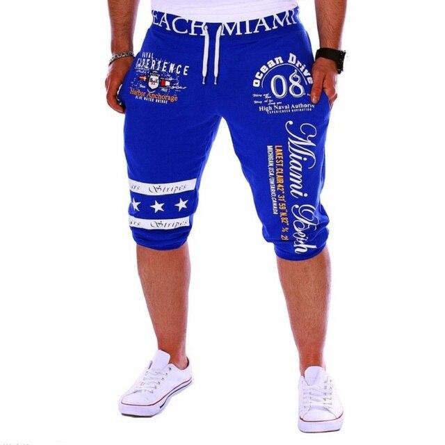 2016 Hot Fashion Men's Digital Printing Design Casual Shorts Hip Hop Active Shorts Elastic Waist Cotton Shorts Summer Joggers