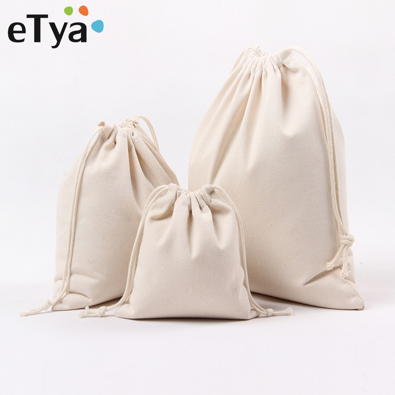 ETya Canvas Drawstring Bag Reusable Shopping Bag Small Coin Travel Women Shoes Bags Storage Package Christmas Gift Pouch
