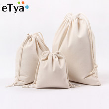 eTya Canvas Drawstring Bag Reusable Shopping Bag Small Coin Travel Women Shoes Bags Storage Package Christmas Gift Pouch(China)