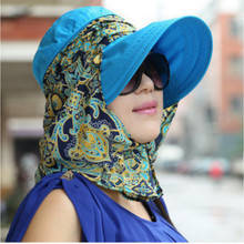 Las mujeres plegable Snapback sombrero para el sol de verano playa sombrero  con cuello de la cara cubierta de protección UV pesc. 61c10568bc1
