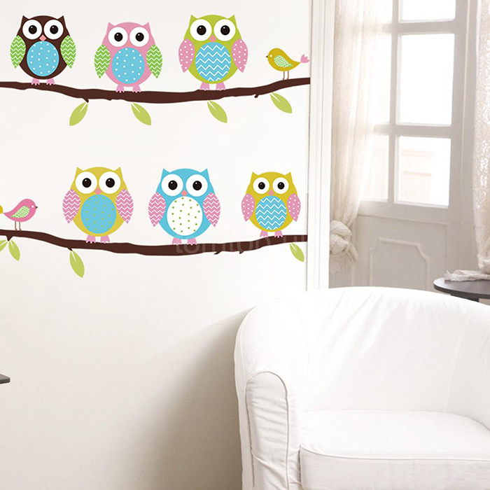 New Cute DIY Removable Colorful Six Owls Bird Branch Decal PVC Wall Mural Sticker Poster Home Decor