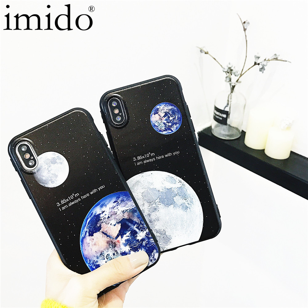 Earth Stars Phone Cases For iPhone 6 6s 7 8 X Moon Night Cases High Tech Cosmic Picture Soft Capa Coque Covers For iPhone 7 Case