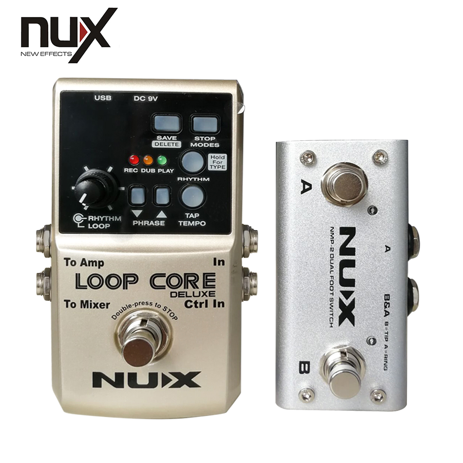 NUX Loop Core Deluxe 24-bit Looper Pedal  loop phrases up to 8 hours 24-bit high-resolution audio quality into 99 saved  memorie nux time core deluxe delay pedal different types of delays to the upmost ambience