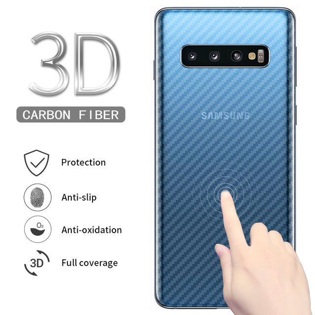5pcs For Samsung Galaxy S10 S9 S8 A8 Plus S10E A7 2018 Note 9 8 Note9 Carbon Fiber Back Screen Protector Film Sticker full cover