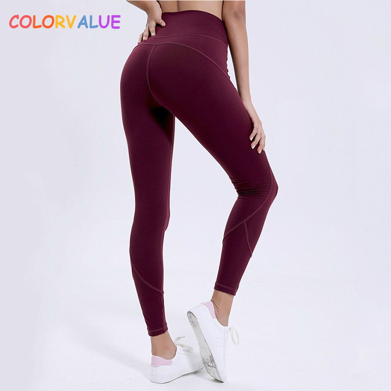 Colorvalue Squatproof High Waist Workout Gym Tights Women Sweatproof Comfortable Nylon Fitness Jogger Yoga Leggings Pants XS-XL drawstring waist insert jogger pants