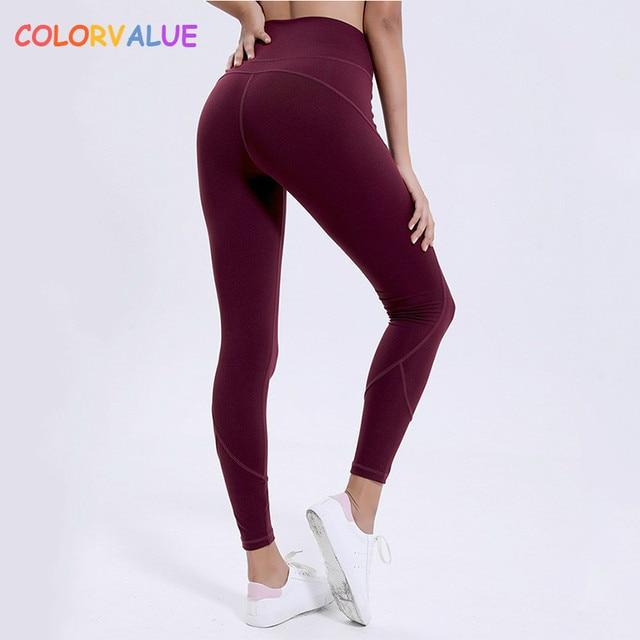 26411b796aea2 Colorvalue Squatproof High Waist Workout Gym Tights Women Sweatproof  Comfortable Nylon Fitness Jogger Yoga Leggings Pants