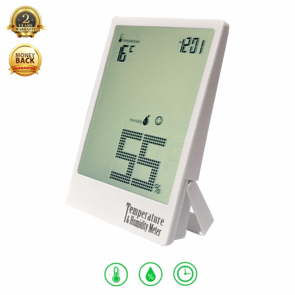 Цифровой Температура измеритель влажности гигрометр комнатный термометр Влажность Мониторы и время для большинства сцены подарочной коробке (белый)