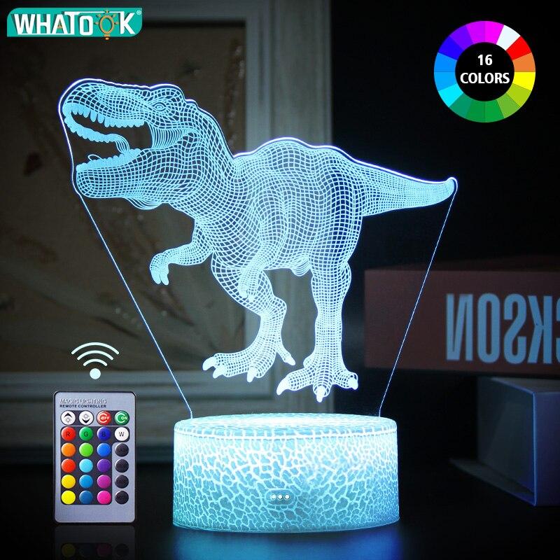 3D светодиодный ночник с динозавром, ночник, сенсорный пульт дистанционного управления, настольная лампа, Декор, подарки для малышей, детей, ...