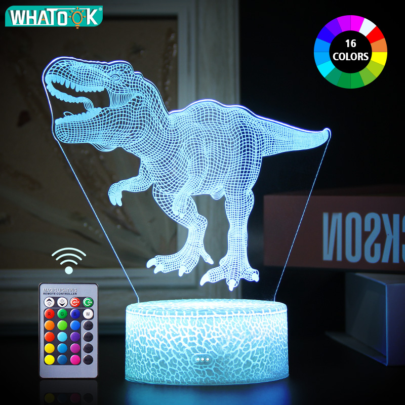Dinosaur 3D LED Night Light Desk Nightlight Touch Remote Table Lamp Decor Gifts for Baby Kids Child Birthday Holiday Girl FriendLED Night Lights   -
