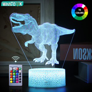 Dinosaur 3D LED Night Light Desk Nightlight Touch Remote Table Lamp Decor Gifts for Baby Kids Child Birthday Holiday Girl Friend(China)